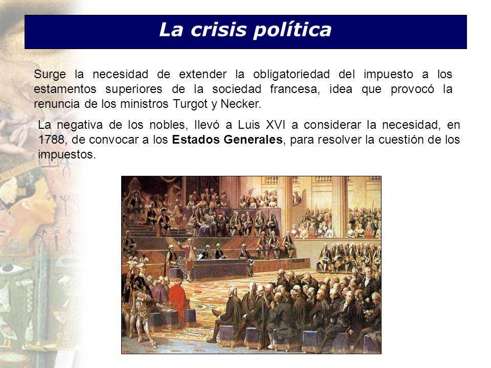La crisis política Surge la necesidad de extender la obligatoriedad del impuesto a los estamentos superiores de la sociedad francesa, idea que provocó