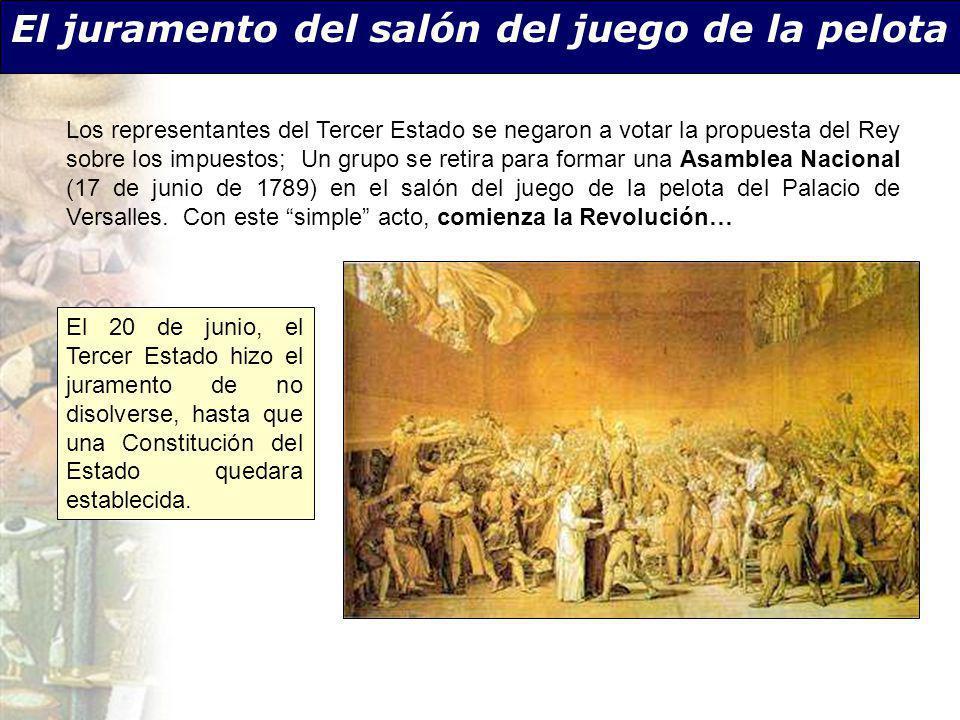 El juramento del salón del juego de la pelota El 20 de junio, el Tercer Estado hizo el juramento de no disolverse, hasta que una Constitución del Esta