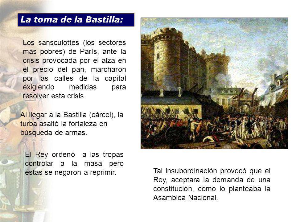 La toma de la Bastilla: Los sansculottes (los sectores más pobres) de París, ante la crisis provocada por el alza en el precio del pan, marcharon por