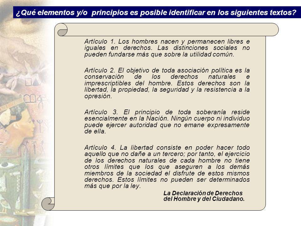 ¿Qué elementos y/o principios es posible identificar en los siguientes textos? Artículo 1. Los hombres nacen y permanecen libres e iguales en derechos