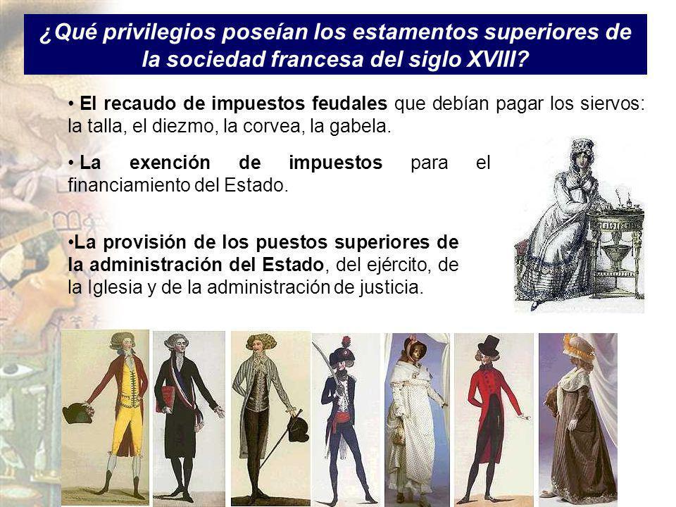 ¿Qué privilegios poseían los estamentos superiores de la sociedad francesa del siglo XVIII? El recaudo de impuestos feudales que debían pagar los sier