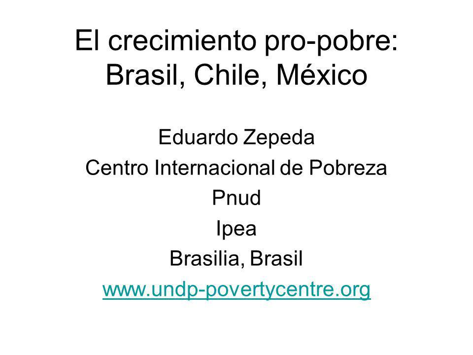 El crecimiento pro-pobre: Brasil, Chile, México Eduardo Zepeda Centro Internacional de Pobreza Pnud Ipea Brasilia, Brasil www.undp-povertycentre.org