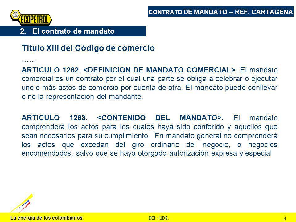 La energía de los colombianos DCI - UDS. 4 CONTRATO DE MANDATO – REF.