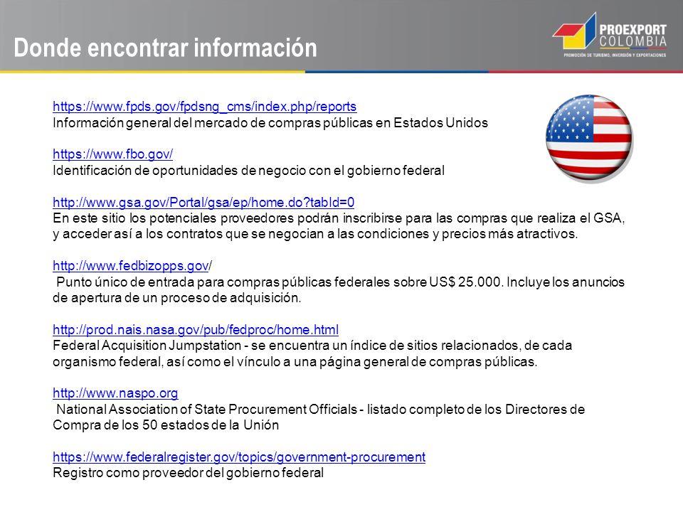 Donde encontrar información https://www.fpds.gov/fpdsng_cms/index.php/reports Información general del mercado de compras públicas en Estados Unidos ht