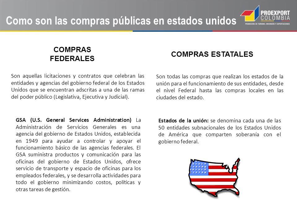 Como son las compras públicas en estados unidos COMPRAS FEDERALES Son aquellas licitaciones y contratos que celebran las entidades y agencias del gobi
