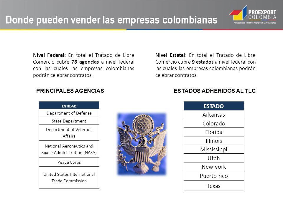Donde pueden vender las empresas colombianas Nivel Federal: En total el Tratado de Libre Comercio cubre 78 agencias a nivel federal con las cuales las