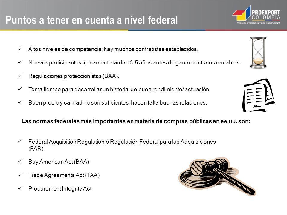 Puntos a tener en cuenta a nivel federal Altos niveles de competencia; hay muchos contratistas establecidos. Nuevos participantes típicamente tardan 3
