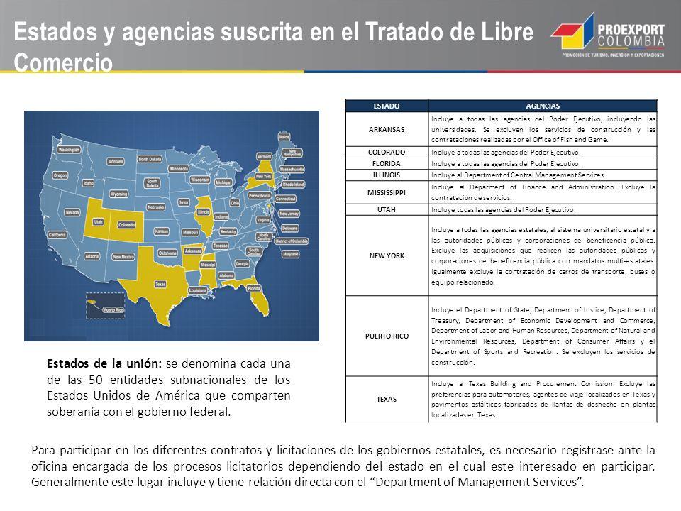 Estados y agencias suscrita en el Tratado de Libre Comercio ESTADOAGENCIAS ARKANSAS Incluye a todas las agencias del Poder Ejecutivo, incluyendo las u