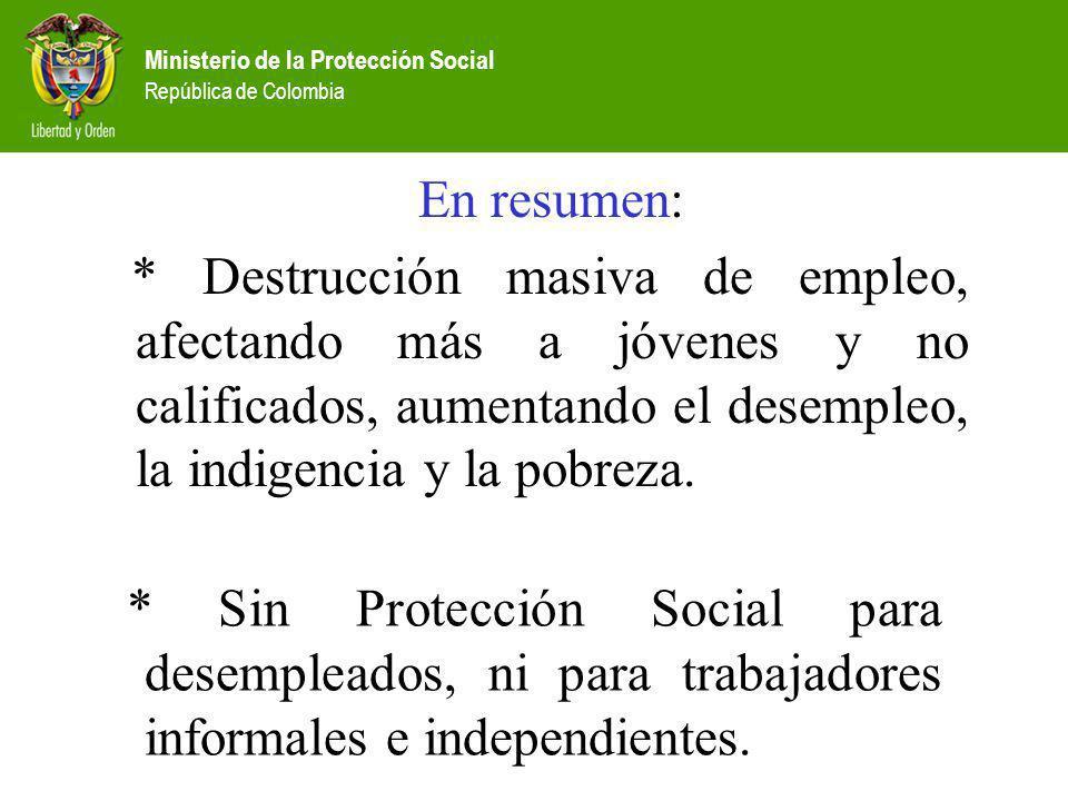 Ministerio de la Protección Social República de Colombia En resumen: * Destrucción masiva de empleo, afectando más a jóvenes y no calificados, aumenta