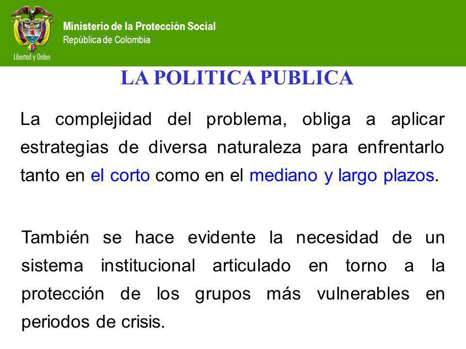 Ministerio de la Protección Social República de Colombia La complejidad del problema, obliga a aplicar estrategias de diversa naturaleza para enfrenta
