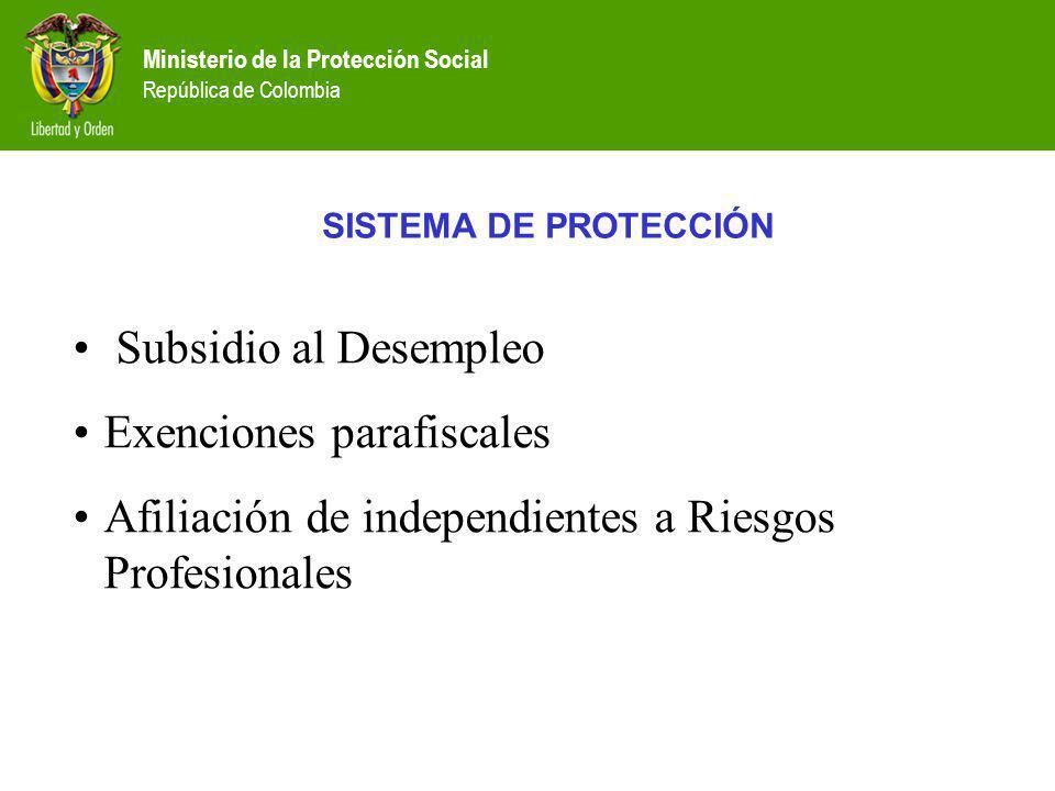 Ministerio de la Protección Social República de Colombia SISTEMA DE PROTECCIÓN Subsidio al Desempleo Exenciones parafiscales Afiliación de independien