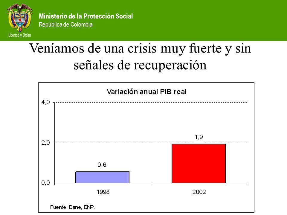 Ministerio de la Protección Social República de Colombia Veníamos de una crisis muy fuerte y sin señales de recuperación