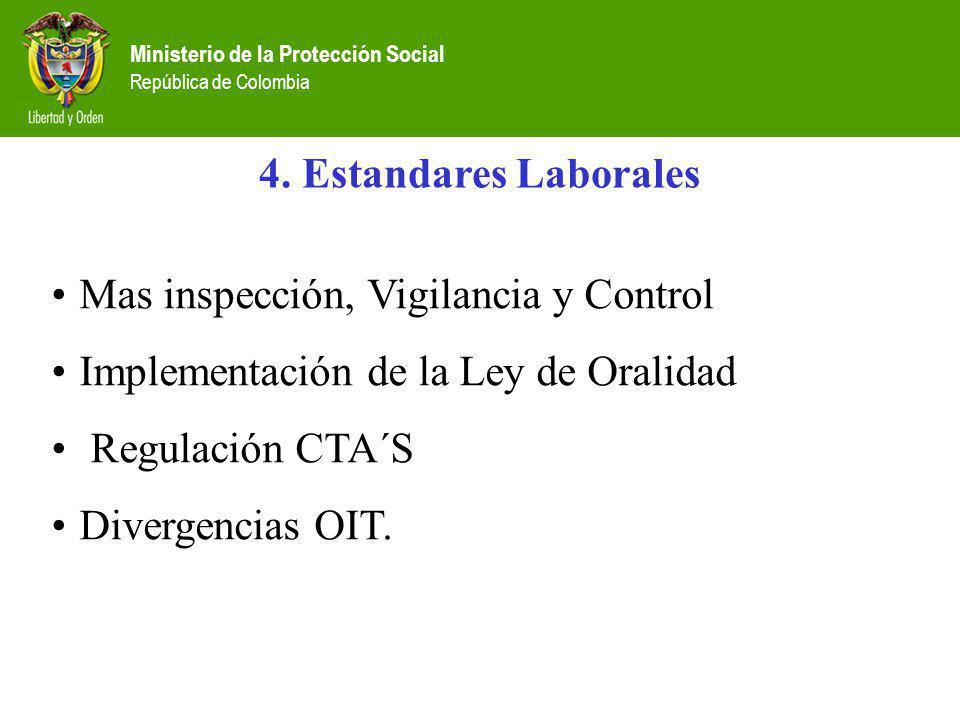 Ministerio de la Protección Social República de Colombia 4. Estandares Laborales Mas inspección, Vigilancia y Control Implementación de la Ley de Oral