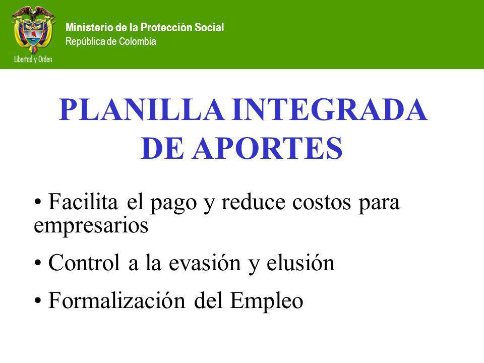 Ministerio de la Protección Social República de Colombia PLANILLA INTEGRADA DE APORTES Facilita el pago y reduce costos para empresarios Control a la