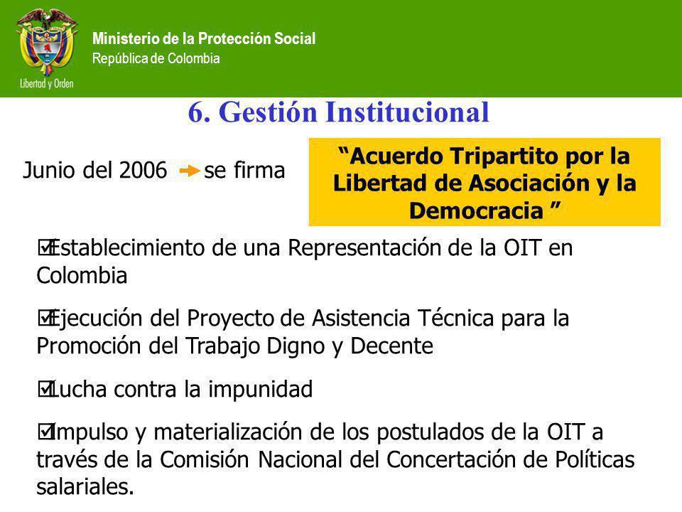 6. Gestión Institucional Junio del 2006 se firma Acuerdo Tripartito por la Libertad de Asociación y la Democracia Establecimiento de una Representació