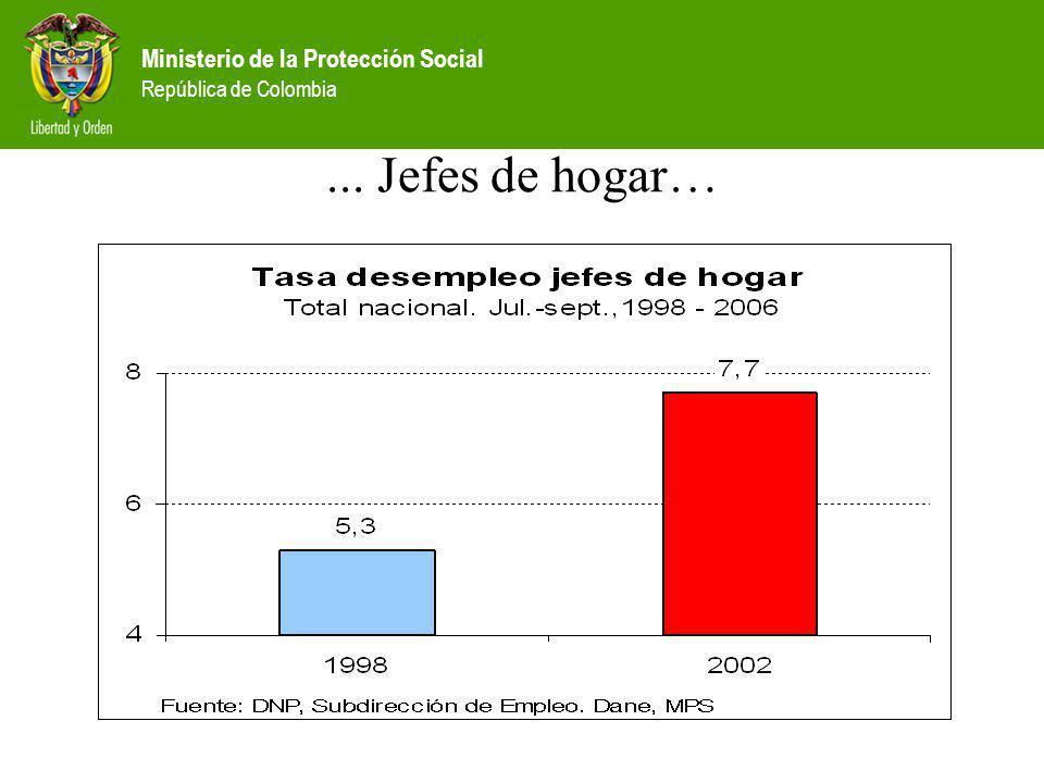 Ministerio de la Protección Social República de Colombia... Jefes de hogar…