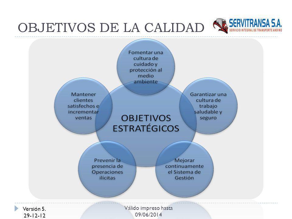 OBJETIVOS DE LA CALIDAD Versión 5. 29-12-12 Válido impreso hasta 09/06/2014