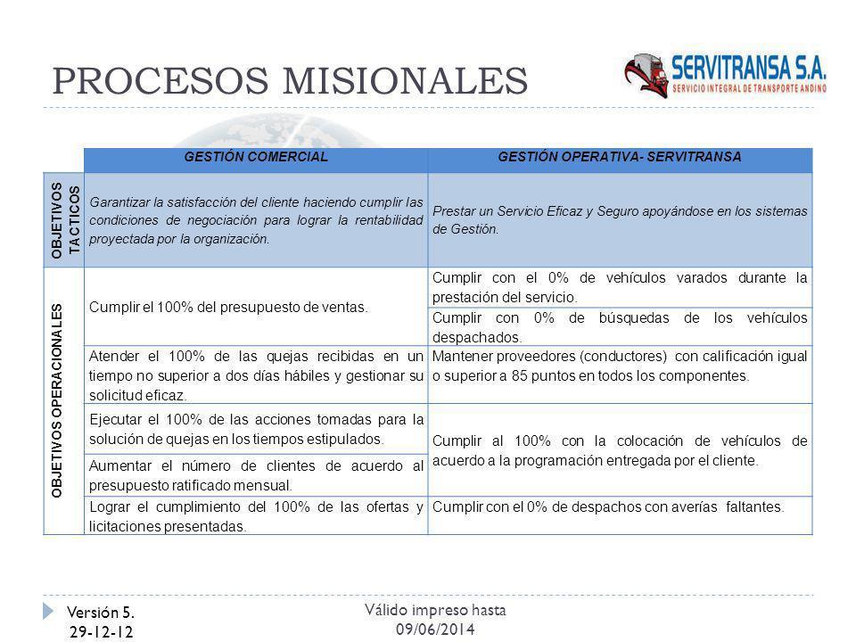 PROCESOS MISIONALES Versión 5. 29-12-12 Válido impreso hasta 09/06/2014 GESTIÓN COMERCIALGESTIÓN OPERATIVA- SERVITRANSA OBJETIVOS TACTICOS Garantizar