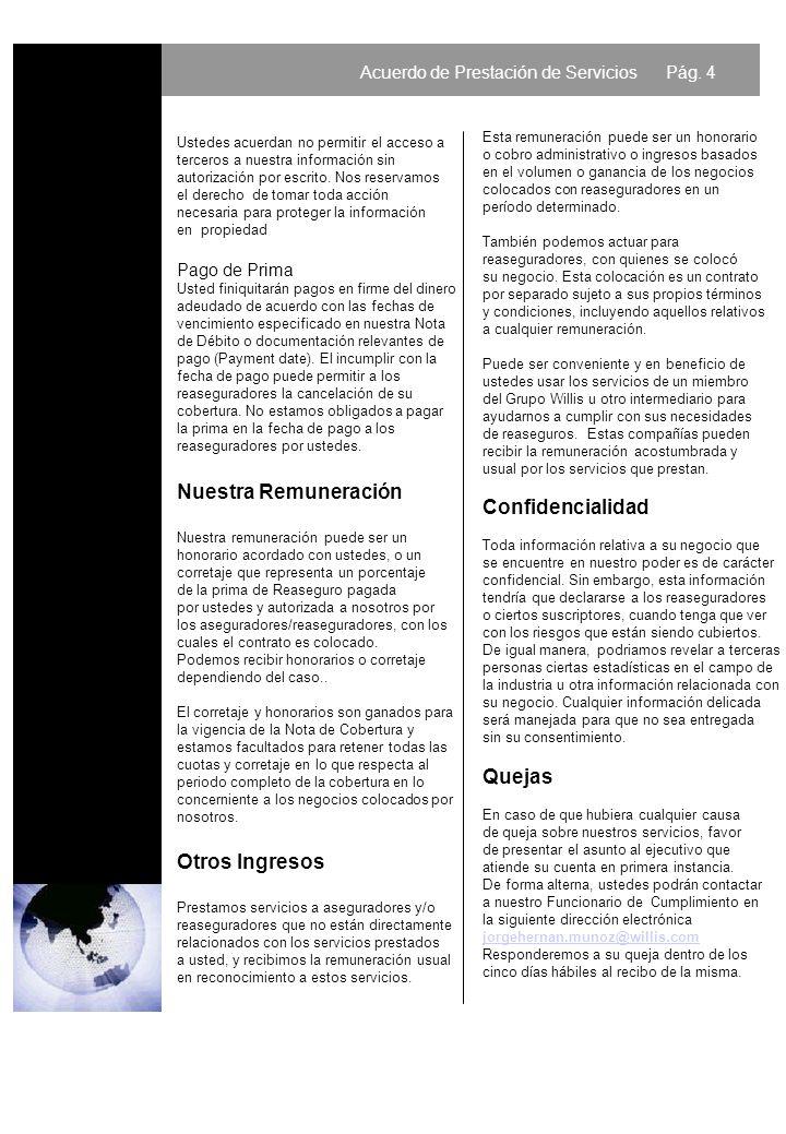 Acuerdo de Prestación de Servicios Pág.