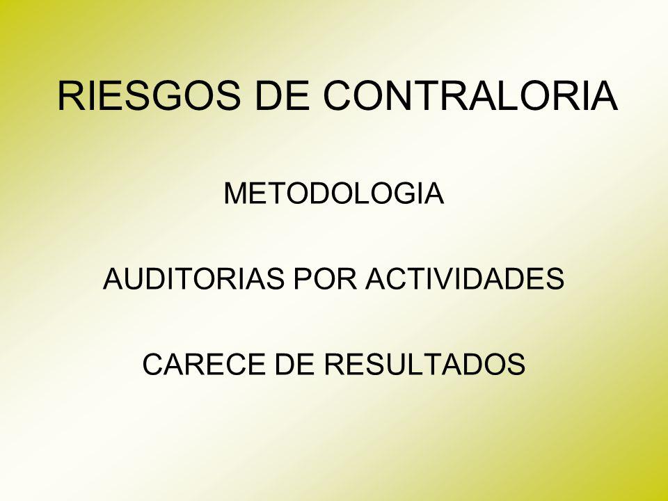 RIESGOS DE CONTRALORIA METODOLOGIA AUDITORIAS POR ACTIVIDADES CARECE DE RESULTADOS
