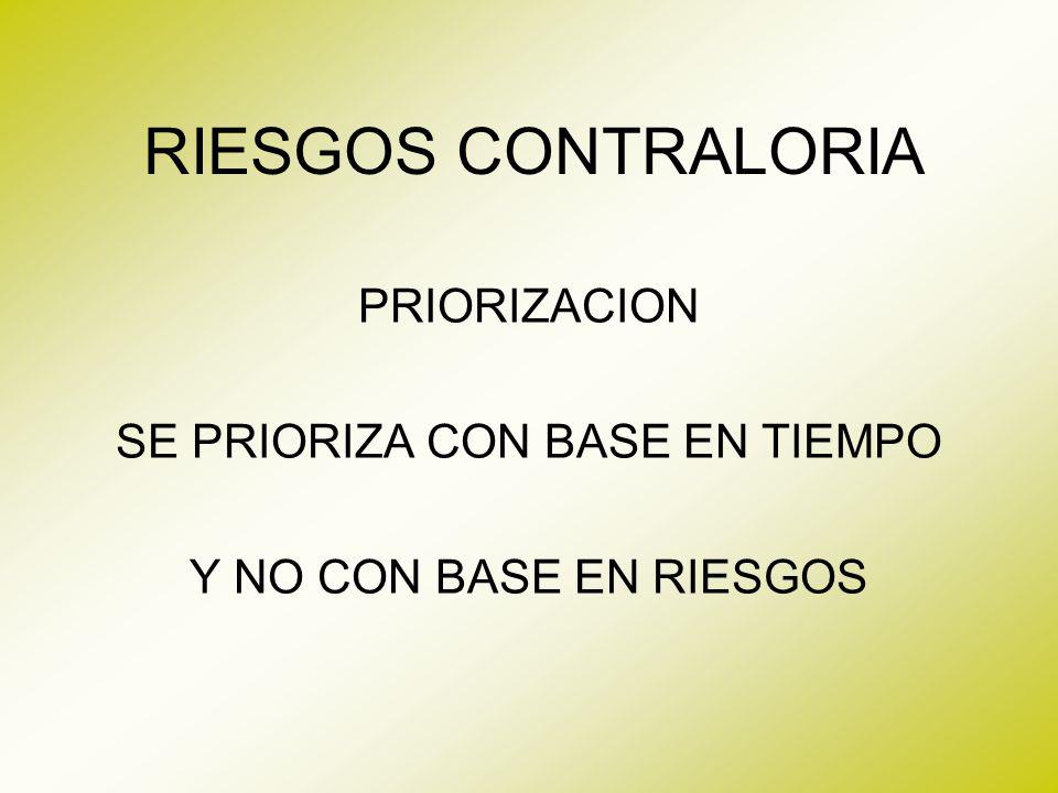 RIESGOS CONTRALORIA PRIORIZACION SE PRIORIZA CON BASE EN TIEMPO Y NO CON BASE EN RIESGOS