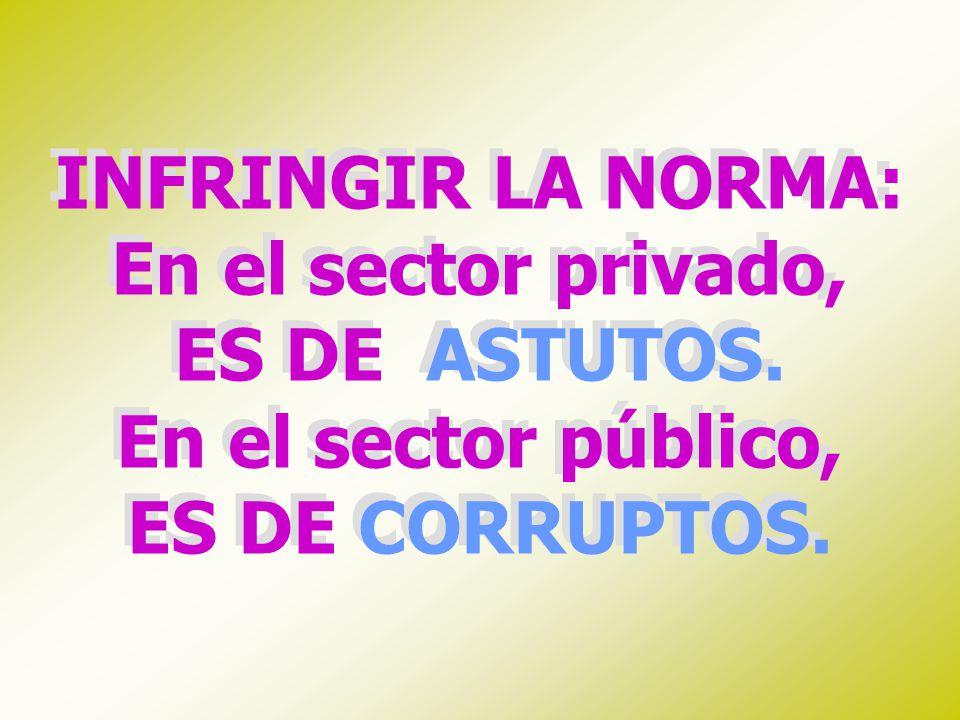 INFRINGIR LA NORMA: En el sector privado, ES DE ASTUTOS. En el sector público, ES DE CORRUPTOS. INFRINGIR LA NORMA: En el sector privado, ES DE ASTUTO
