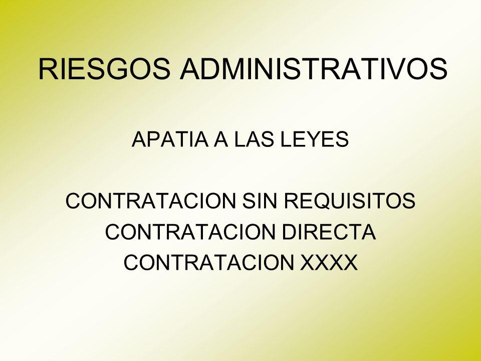 RIESGOS ADMINISTRATIVOS FORMACION GERENCIAL GERENCIA POR TAREAS, ACTIVIDADES CARECE DE GERENCIA DE PROYECTOS CARECE DE INDICADORES