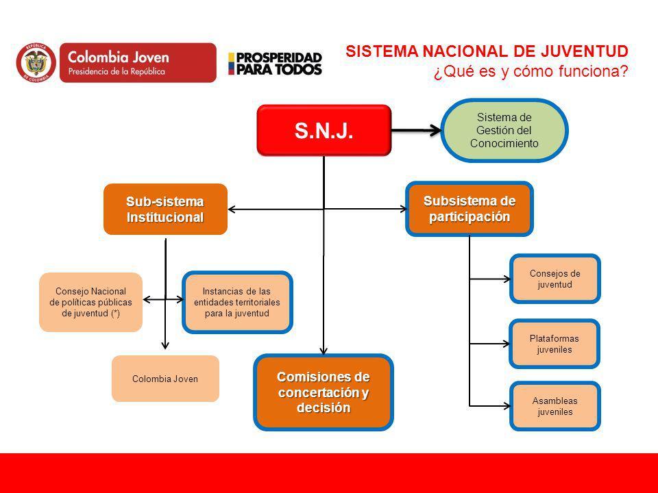 S.N.J. Subsistema de participación Sistema de Gestión del Conocimiento Sub-sistema Institucional Consejos de juventud Plataformas juveniles Consejo Na