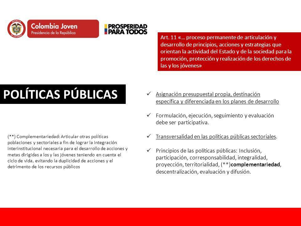 POLÍTICAS PÚBLICAS Art. 11 «… proceso permanente de articulación y desarrollo de principios, acciones y estrategias que orientan la actividad del Esta