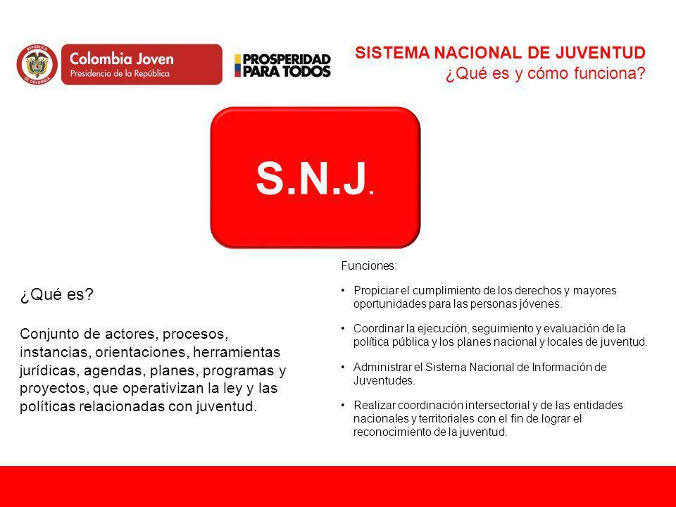 S.N.J. SISTEMA NACIONAL DE JUVENTUD ¿Qué es y cómo funciona? ¿Qué es? Conjunto de actores, procesos, instancias, orientaciones, herramientas jurídicas