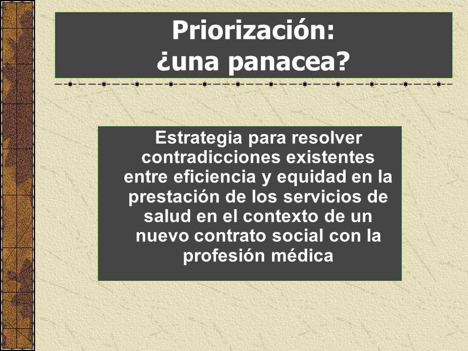 Priorización: ¿una panacea? Estrategia para resolver contradicciones existentes entre eficiencia y equidad en la prestación de los servicios de salud