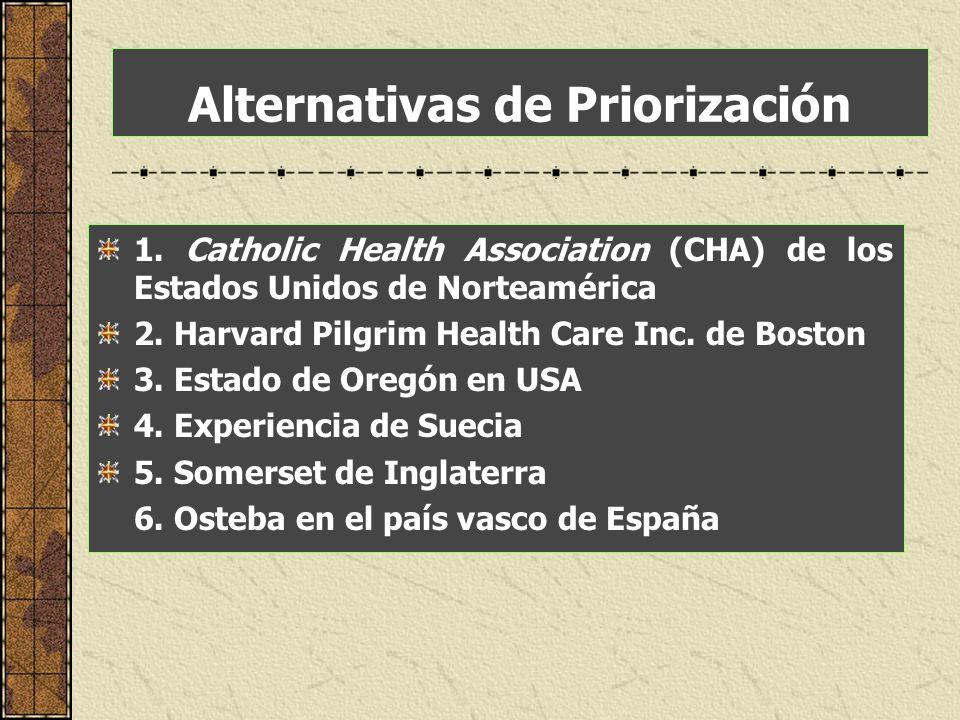 Alternativas de Priorización 1. Catholic Health Association (CHA) de los Estados Unidos de Norteamérica 2. Harvard Pilgrim Health Care Inc. de Boston