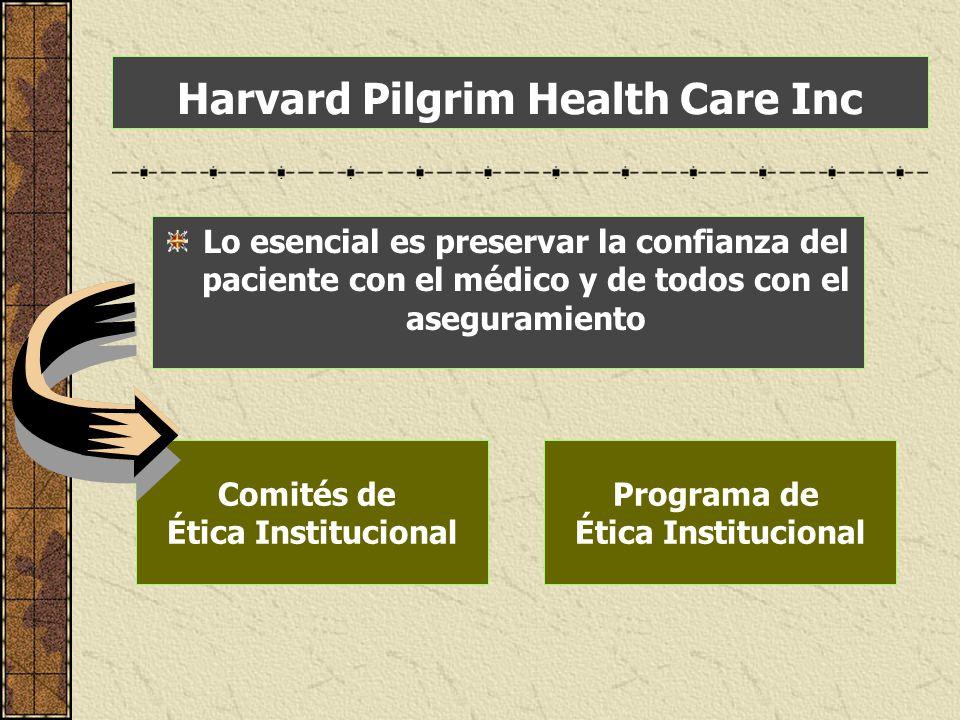 Harvard Pilgrim Health Care Inc Lo esencial es preservar la confianza del paciente con el médico y de todos con el aseguramiento Comités de Ética Inst