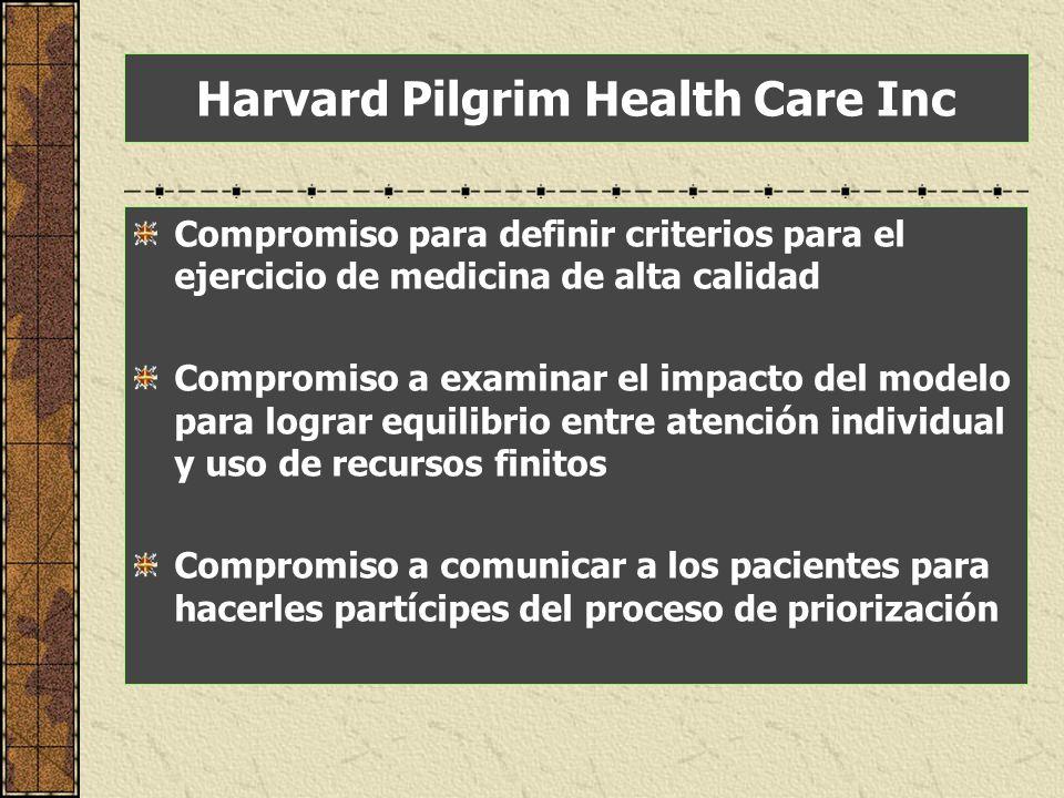 Compromiso para definir criterios para el ejercicio de medicina de alta calidad Compromiso a examinar el impacto del modelo para lograr equilibrio ent