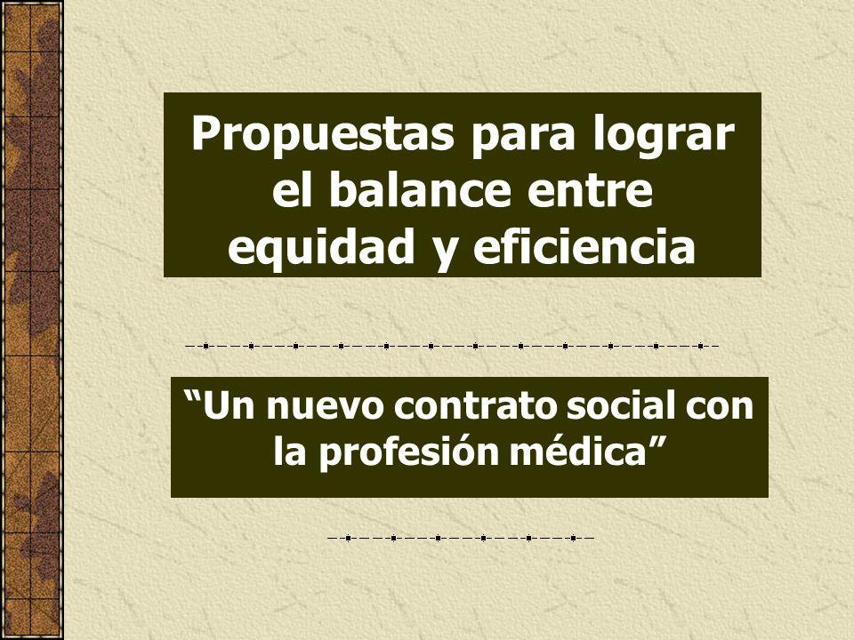Propuestas para lograr el balance entre equidad y eficiencia Un nuevo contrato social con la profesión médica