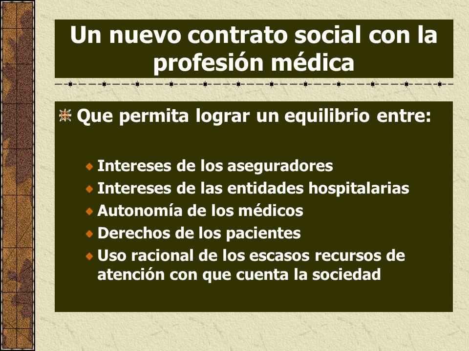Que permita lograr un equilibrio entre: Intereses de los aseguradores Intereses de las entidades hospitalarias Autonomía de los médicos Derechos de lo