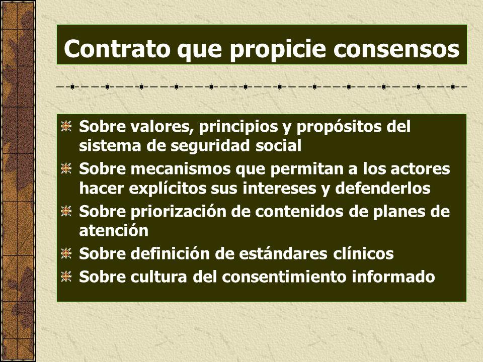 Contrato que propicie consensos Sobre valores, principios y propósitos del sistema de seguridad social Sobre mecanismos que permitan a los actores hac