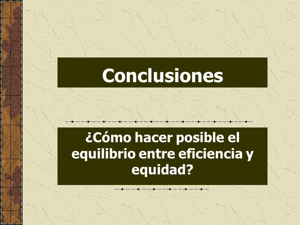 Conclusiones ¿Cómo hacer posible el equilibrio entre eficiencia y equidad?