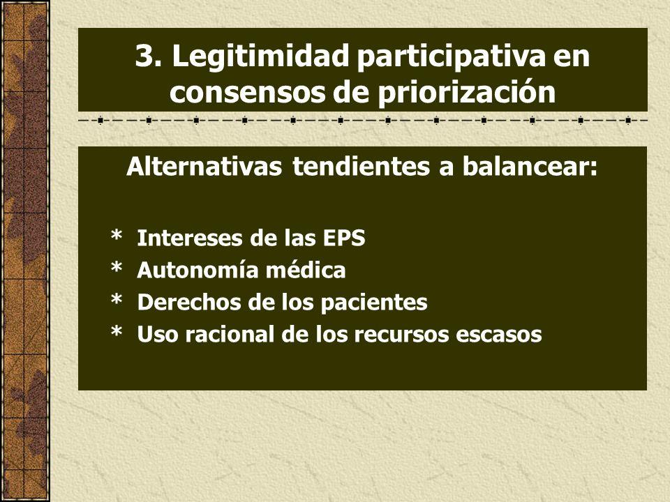 3. Legitimidad participativa en consensos de priorización Alternativas tendientes a balancear: * Intereses de las EPS * Autonomía médica * Derechos de