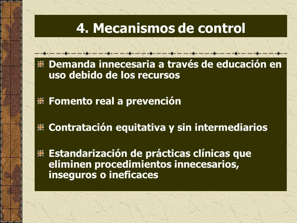 4. Mecanismos de control Demanda innecesaria a través de educación en uso debido de los recursos Fomento real a prevención Contratación equitativa y s