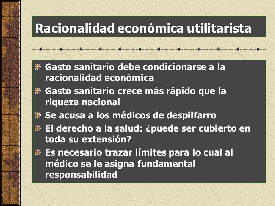 Racionalidad económica utilitarista Gasto sanitario debe condicionarse a la racionalidad económica Gasto sanitario crece más rápido que la riqueza nac