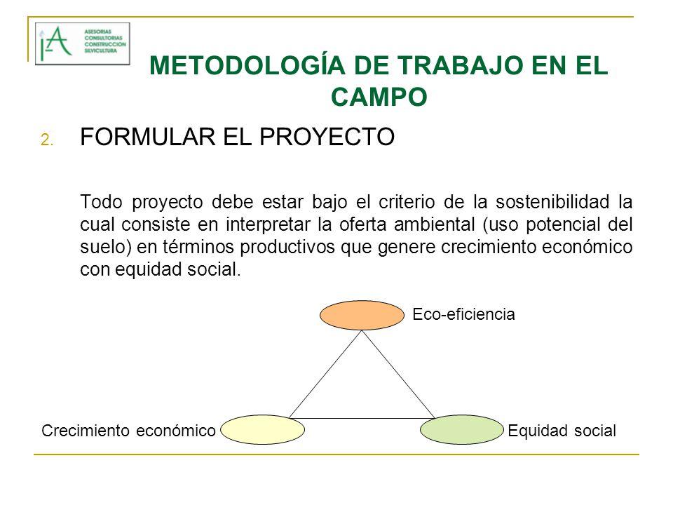 METODOLOGÍA DE TRABAJO EN EL CAMPO 2. FORMULAR EL PROYECTO Todo proyecto debe estar bajo el criterio de la sostenibilidad la cual consiste en interpre