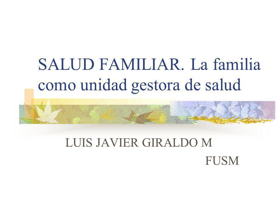 SALUD FAMILIAR. La familia como unidad gestora de salud LUIS JAVIER GIRALDO M FUSM