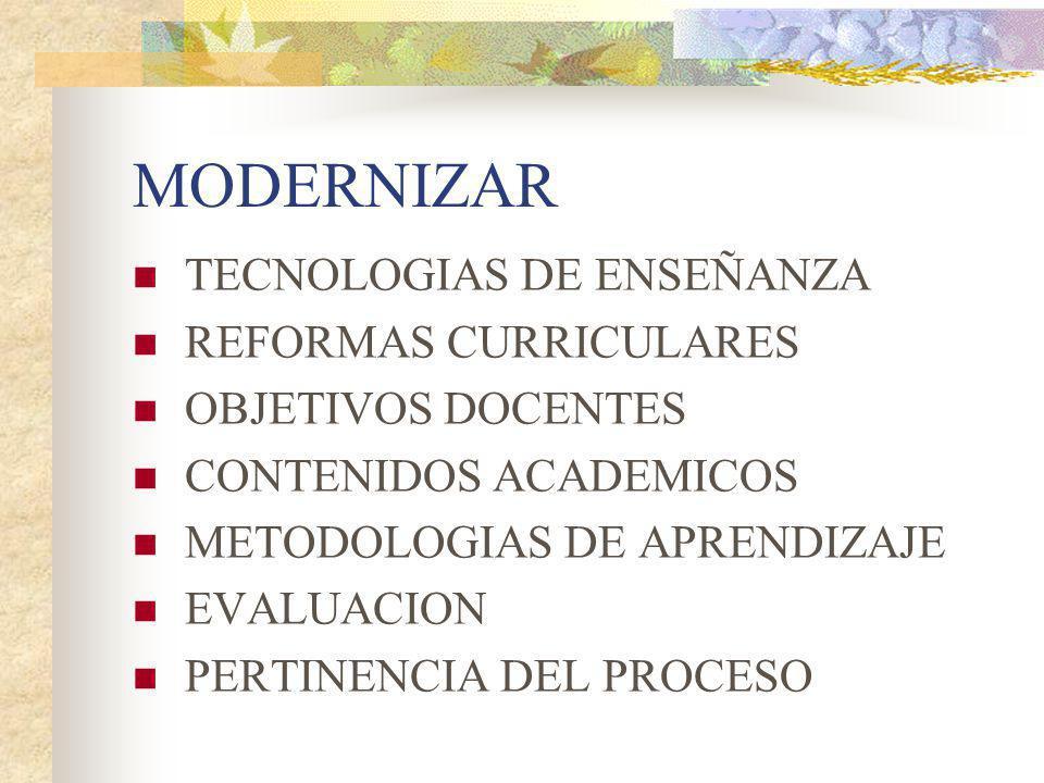 MODERNIZAR TECNOLOGIAS DE ENSEÑANZA REFORMAS CURRICULARES OBJETIVOS DOCENTES CONTENIDOS ACADEMICOS METODOLOGIAS DE APRENDIZAJE EVALUACION PERTINENCIA