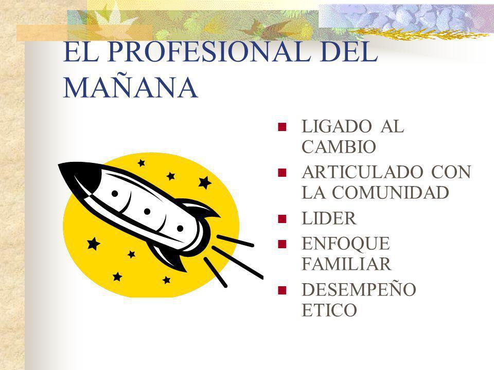 EL PROFESIONAL DEL MAÑANA LIGADO AL CAMBIO ARTICULADO CON LA COMUNIDAD LIDER ENFOQUE FAMILIAR DESEMPEÑO ETICO