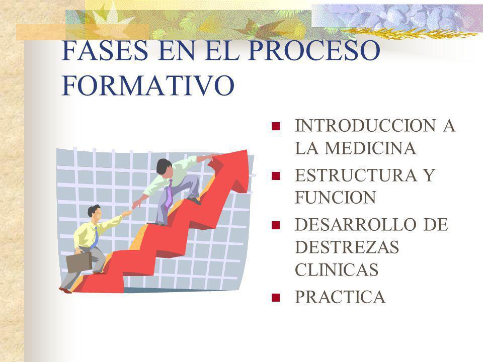 FASES EN EL PROCESO FORMATIVO INTRODUCCION A LA MEDICINA ESTRUCTURA Y FUNCION DESARROLLO DE DESTREZAS CLINICAS PRACTICA