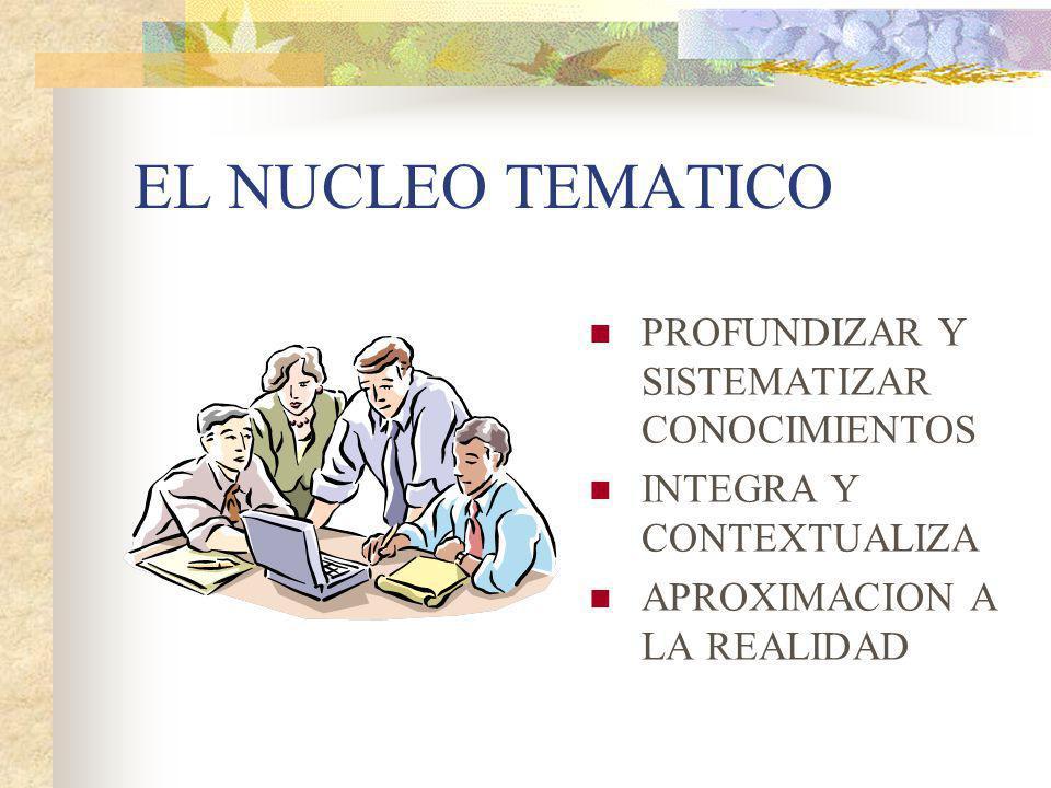 EL NUCLEO TEMATICO PROFUNDIZAR Y SISTEMATIZAR CONOCIMIENTOS INTEGRA Y CONTEXTUALIZA APROXIMACION A LA REALIDAD
