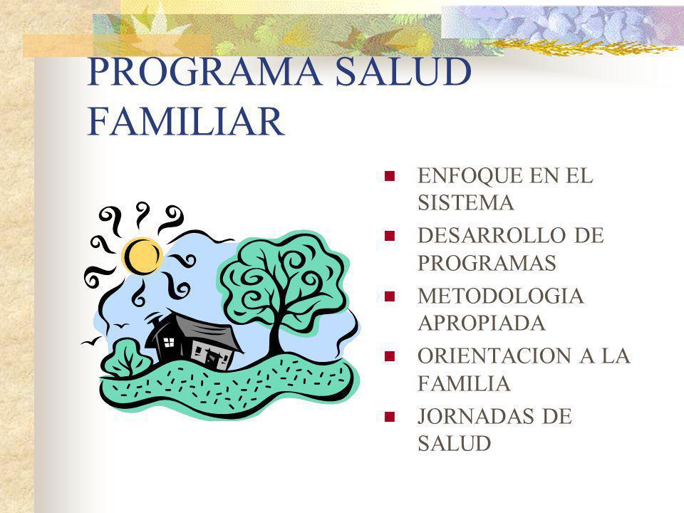 PROGRAMA SALUD FAMILIAR ENFOQUE EN EL SISTEMA DESARROLLO DE PROGRAMAS METODOLOGIA APROPIADA ORIENTACION A LA FAMILIA JORNADAS DE SALUD