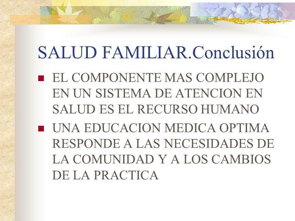 SALUD FAMILIAR.Conclusión EL COMPONENTE MAS COMPLEJO EN UN SISTEMA DE ATENCION EN SALUD ES EL RECURSO HUMANO UNA EDUCACION MEDICA OPTIMA RESPONDE A LA