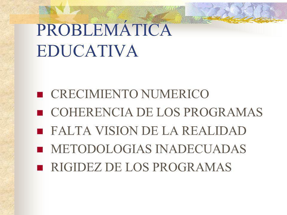 PROBLEMÁTICA EDUCATIVA CRECIMIENTO NUMERICO COHERENCIA DE LOS PROGRAMAS FALTA VISION DE LA REALIDAD METODOLOGIAS INADECUADAS RIGIDEZ DE LOS PROGRAMAS